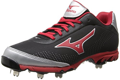 Mizuno Men's Vapor Elite 7 Low Baseball Cleat,Black/Red,10.5 M US