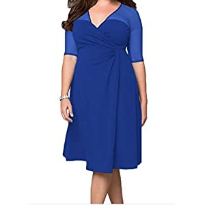 Black Friday FQHOME Womens Royal Blue Plus Size Sugar and Spice Dress Size 2XL
