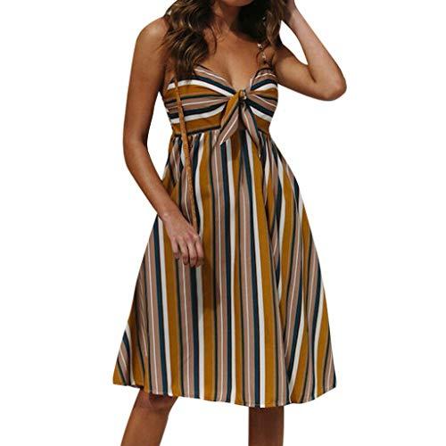 Qingell Dress Women Sexy Spaghetti Strap Floral Print Dress Backless Front Bow Plus Size Boho Short Mini Dress Yellow