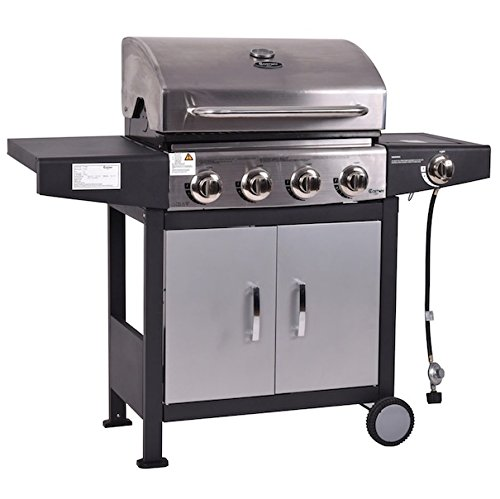 4 Burner Gas Grill BBQ Propane Cooking With Casters Stainless Steel Outdoor Patio Backyard Yard Barbecue Portable Electronic Ignition System Large Side Shelves