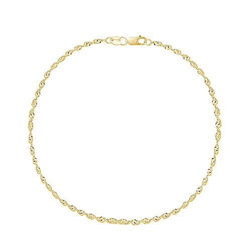 14k Yellow Gold Singapore Sparkle Anklet Ankle Bracelet Lobster Lock 10 Inches