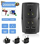 2019 Upgraded DOACE C11 2000W Travel Voltage Converter for Hair Dryer Straightener, Flat Iron, Set Down 220V to 110V, 10A Power Adapter with 2-Port USB, EU/UK/AU/US Plug for Laptop, Camera, Phones