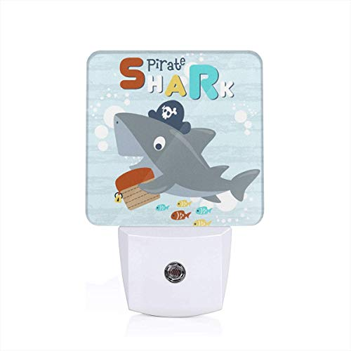 Pirate Shark Plug-in Night Light Dusk to Dawn Smart Sensor,White LED Nightlight for Bedroom,Bathroom,Kitchen,Hallway,Stairs,Hallway,Energy Efficient,Decor Desk Lamp