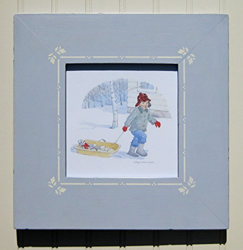 Framed watercolor illustration of boy pulling sock monkey in snow sled. Hand-painted, hand-stenciled wooden picture frame.