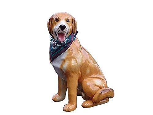 陶器犬 レトリバー 陶器製 置物 新品 アウトレット バンダナ付き 玄関に B01BSBSHKO