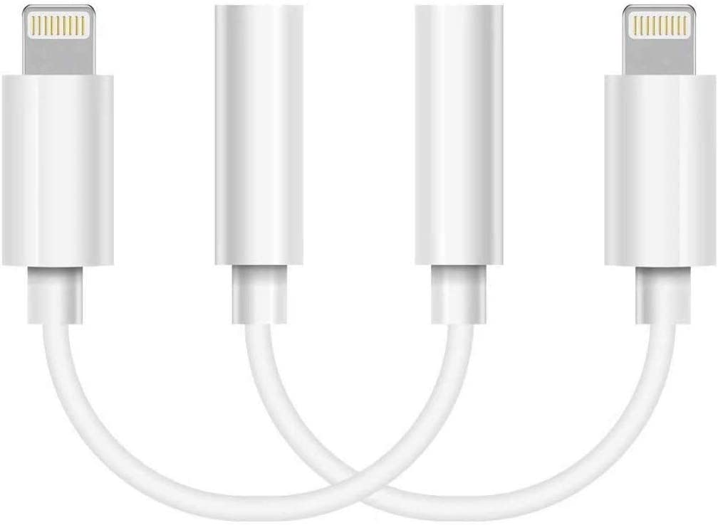 2 Pack Apple Lightning to 3.5 mm Headphone Jack Adapter Connector Aux Audio Earphones/Headphone Dongle Stereo Cable for iPhone 7/7 Plus/8/8 Plus/X/Xs Xs Max/XR/11 Support iOS 13[Apple MFi Certified]