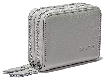 Women's Genuine Leather RFID Secure Spacious Cute Zipper Card Wallet Small Purse