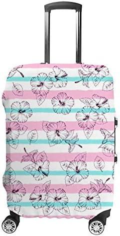スーツケースカバー トラベルケース 荷物カバー 弾性素材 傷を防ぐ ほこりや汚れを防ぐ 個性 出張 男性と女性エキゾチックな花ハイビスカス