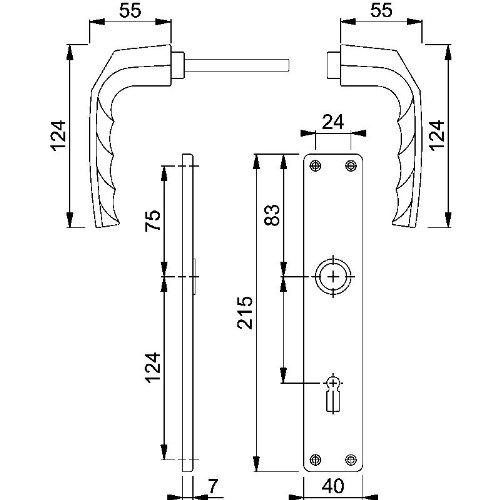 beidseits Griff Hoppe T/ürgriff-Garnitur Aluminium 1117//202SP Birmingham