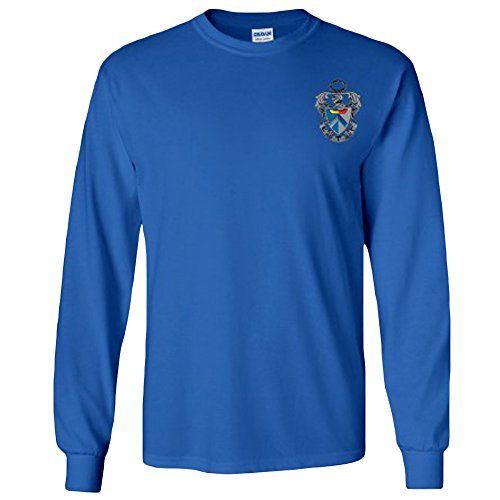 Sigma Tau Gamma Fraternity Crest Longsleeve Tee Medium Royal Blue