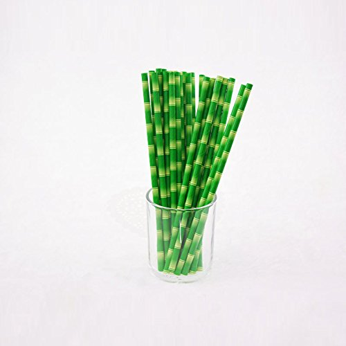 FULLIN Drinking Paper Straws Bamboo Print Tiki Hawaiian J...