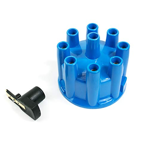 A-Team Performance Ready to Run Distributor Cap and Rotor Kit Pro Billet 8 Cylinders Female Terminal Blue