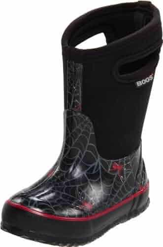 Bogs Kid's Classic High Waterproof Insulated Rubber Neoprene Rain Boot Snow, Spiders Print/Black/Multi, 8 M US Toddler