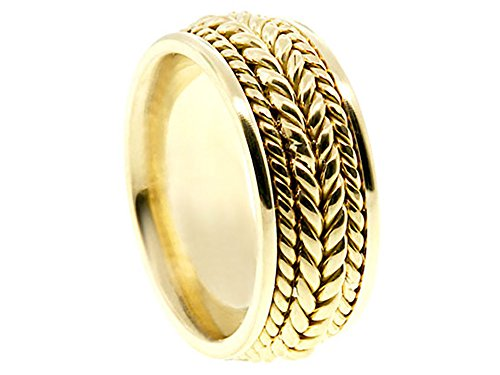 Men's 14k Yellow Gold Braided 8mm Comfort Fit Wedding Band Ring size 13 - Gold Braided Ring