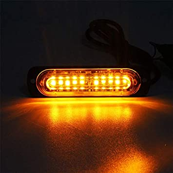 XT AUTO 4.4-inch Ultra Thin Slim Strobe 10 LED Light Head Emergency Hazard Beacon Caution Warning Strobe Lights for Truck Car Vehicle Law Enforcement Snow Plow White 4-Pack