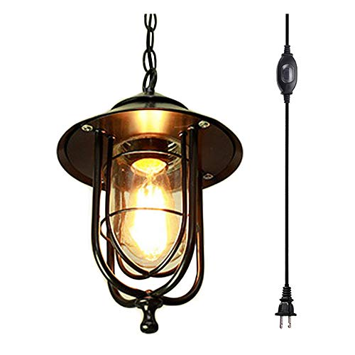 ANYE Black Iron Birdcage Pendant Lighting with 15ft UL Waterproof Button Switch Cord European Chandelier Outdoor Retro Style Decor for Corridor Garden Pergola Bulb Not Included TB0351-fs ()