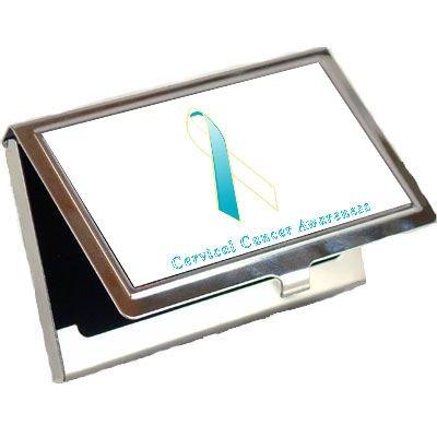 Cervical Cancer Awareness Ribbon Business Card Holder