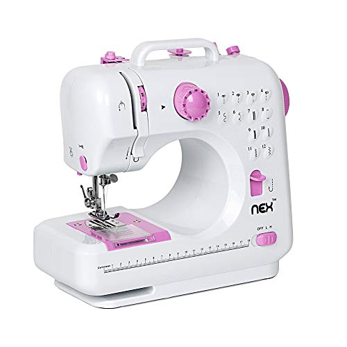 NEX Sewing Machine Children Present Portable Crafting Mending Machine with 12 Built-In Stitched
