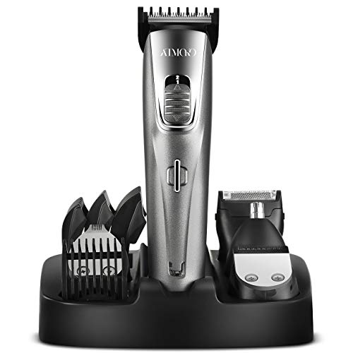 ATMOKO Mens Beard Trimmer Grooming Kit Professional Hair Trimmer Mustache Trimmer Body Groomer Trimmer for Nose Ear Facial Hair Cordless Waterproof USB Rechargeable 5 In 1
