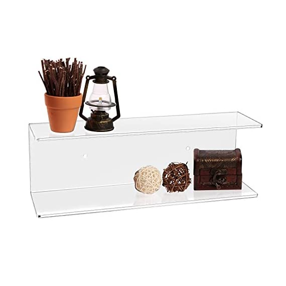 MyGift 2-Tier Clear Wall-Mounted Acrylic Display Shelves/Kitchen & Bathroom Wall Shelf - The modern efficiency and clear acrylic class of this shelf brings stylish organization to any wall space in your home. Features dual tiers making this functional shelf easy to display your favorite things. Makes for a perfect organizer set for cosmetics in bathrooms, spices in kitchens, and decorations in bedrooms. - wall-shelves, living-room-furniture, living-room - 41eI4iYapJL. SS570  -