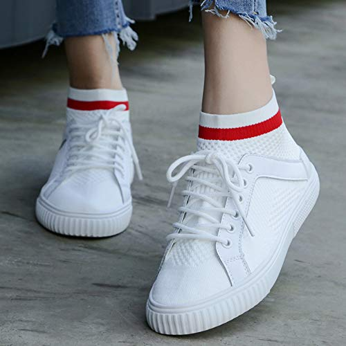 Flat Knitted Shoes Breathable KPHY Thirty Students Summer Bottomed Socks Shoes Seven Gauze Laces Casual White Women'S Yddx1Uw