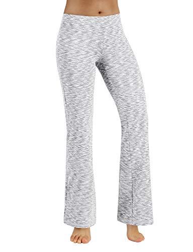 (ODODOS Power Flex Boot-Cut Yoga Pants Tummy Control Workout Non See-Through Bootleg Yoga Pants,SpaceDyeWhite,X-Small)