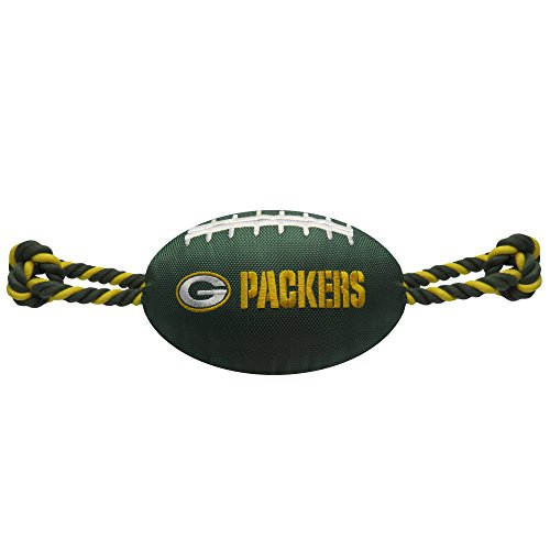 Pets First NFL Green Bay Packers Football Dog Toy, Tough Nylon Quality Materials with Strong Pull Ropes & Inner Squeaker in NFL Team Color]()
