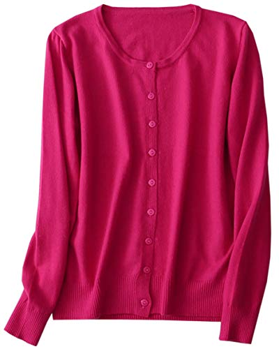 SANGTREE Women's Cashmere Button Down Casual Slim Long Sleeve Crewneck Soft Knit Cardigan Sweater, Hot Pink, Tag XL = US M(10)