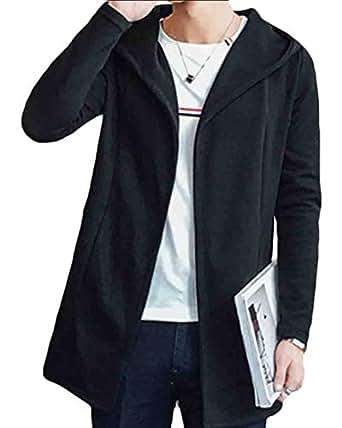 GenericMen Autumn Winter Coat Hooded Open Front Cardigan