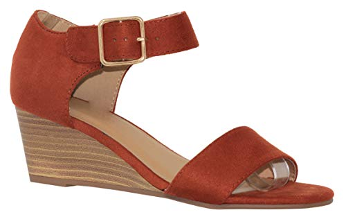 MVE Shoes Womens Open Toe Low Wedge Thick Ankle Strap, Rock Rust ISU Size 9