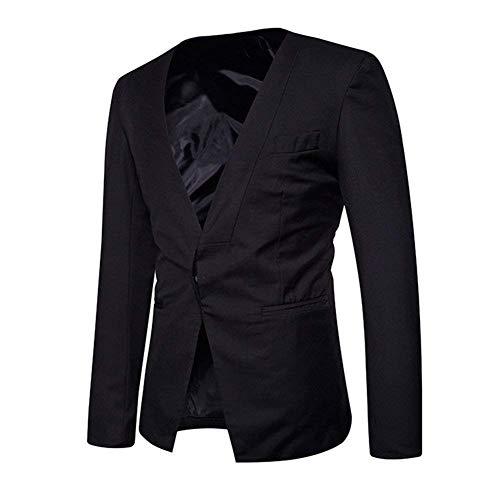 Eleganti Blazer Libero Con Casual Giacca Fit Cappotto Da Slim Capispalla Moderna Tempo Autunno Giacche Schwarz Per Il Uomo Bottone Haidean Lavoro Un Yvb76gfy
