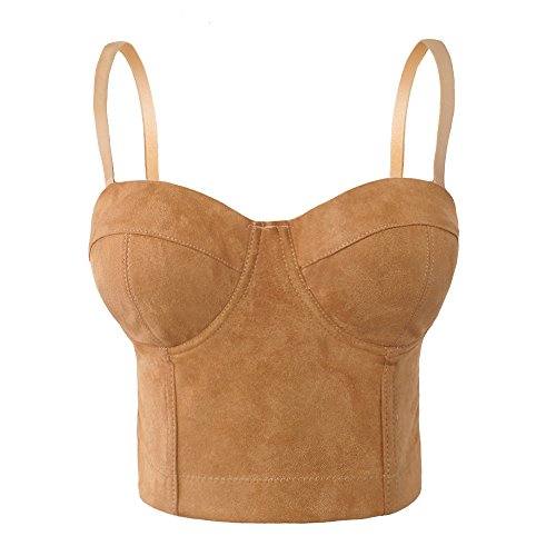 She'sModa Women's Faux Suede Crop Top Sexy Corset Night Club Party Bustier Bra M Size Beige by She'sModa