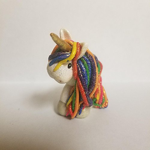RAINBOW UNICORN CHRISTMAS ORNAMENT with Gold Horn Hand Made Polymer Clay OOAK
