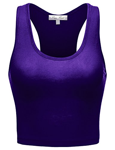 Basic Stretch Sleeveless Racerback Crop Short Tank Tops, 017-bright Royal, US L