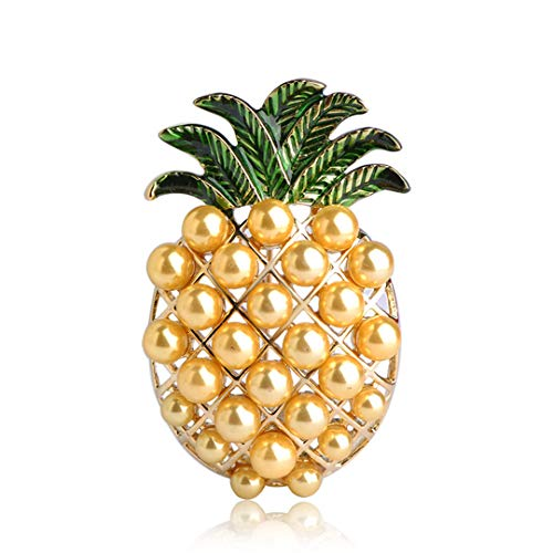 Shiny Yellow Pineapple Brooches For Women Girls Kids Clothes Accessories Enamel Simulated Pearls Fruit Corsage Jewelry Yellow