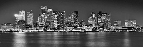 Boston Skyline PHOTO PRINT UNFRAMED NIGHT Black & White BW City Downtown 11.75 inches x 36 inches Archival Photographic Panorama Poster Picture Standard Size