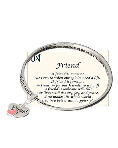 Jewelry Nexus Silver-tone Friend Twist Bangle Bracelet with Friend Heart Charm