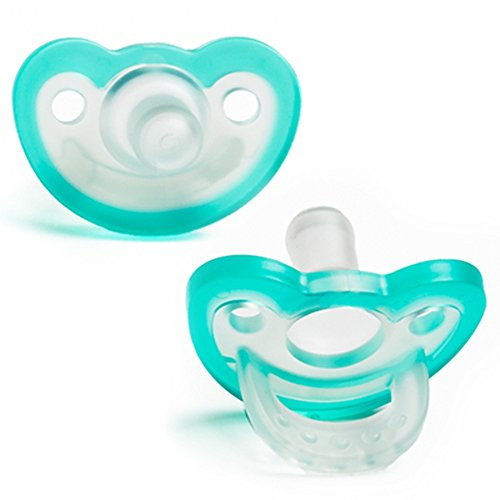 RaZbaby JollyPop Baby Pacifier PLUS, 3m+, TEAL, Double pack