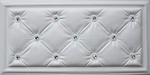 Faux Wallcoverings (3D Faux Leather wall panel LT-315 White Diamond. Set of 6 soft 3D glue up wall panels (23 5/8