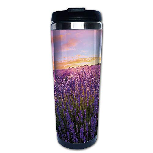 Stainless Steel Insulated Coffee Travel Mug,Blossom Summertime Lively Nature European Land,Spill Proof Flip Lid Insulated Coffee cup Keeps Hot or Cold 13.6oz(400 ml) Customizable -