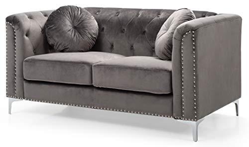 (Glory Furniture Pompano G782A-L Love Seat, Dark Gray. Living Room Furniture 31