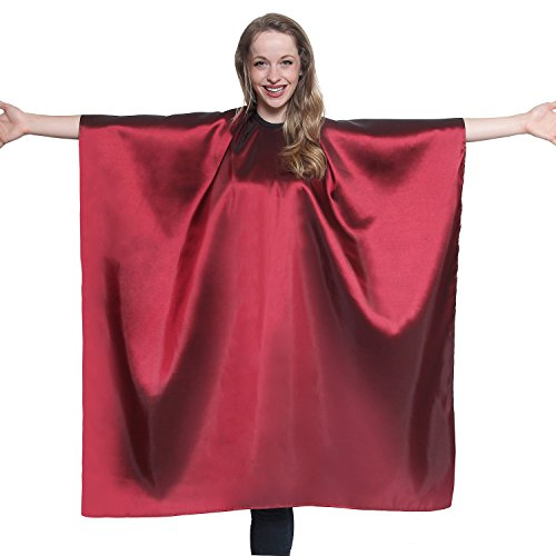 Burgundy Iridescent Salon Cape with snaps Professional Quality 45 inch X 60 inch Heavy Duty Material Extra Long Durability For Barbershop and Beauty Shop Use Long Lasting and Specialized (MAROON)