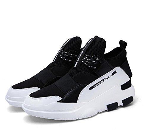 WZG bota zapatos de los nuevos hombres, zapatos de hombre casual alto estado de baloncesto hip-hop zapatos de hombre zapatos de deporte amortiguación white black
