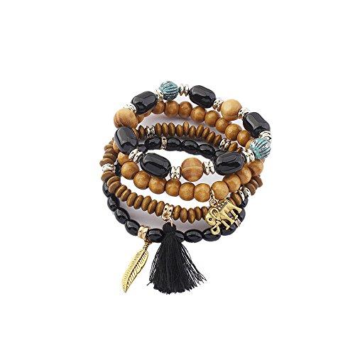 LUREME Vintage Beads Multi Strand Stretch Bracelet Set with Elephant Tassel Charms-Black (bl003188-1)