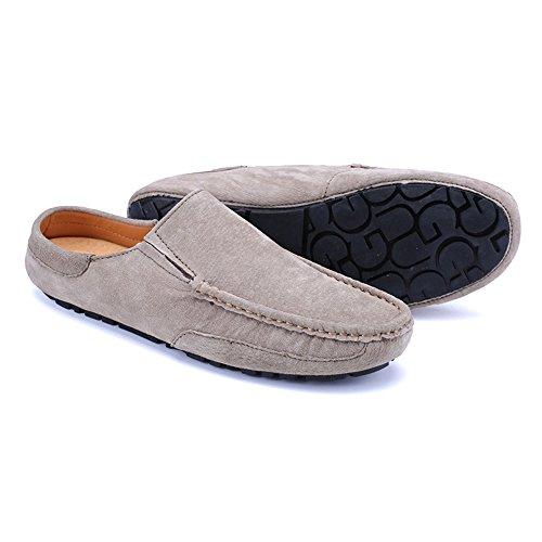 Nero formali da 5 Jiuyue uomo UK party mocassini 8 casual eventi Boat o anche on shoes Muli stile Khaki per pantofole slip FFqfT