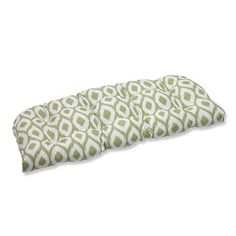 Pillow Perfect Wicker Loveseat Cushion with Bella-Dura Shivali Lime/Cream Fabric