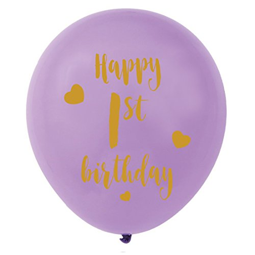 Purple 1st Birthday Latex Balloons, 12inch (16pcs) Girl Gold Happy First Birthday Party Decorations Supplies