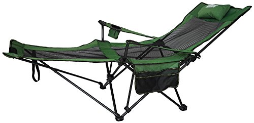 ANIGU Mesh Lounge Reclining Folding Camp Chair with Footrest (Grass Green) - Folding Lounge Chair
