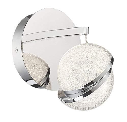 (George Kovacs P1431-077-L Silver Slice One Light Bath in Chrome, 6.5W LED, 3000K, 90CRI, 350 Lumens, 5.5