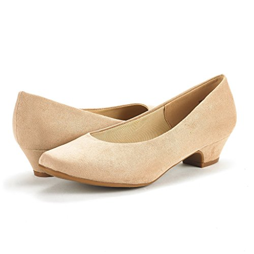 Mila Shoes Suede DREAM Chunky Pump Heel PAIRS Low Nude Women's EUOwBwpqA